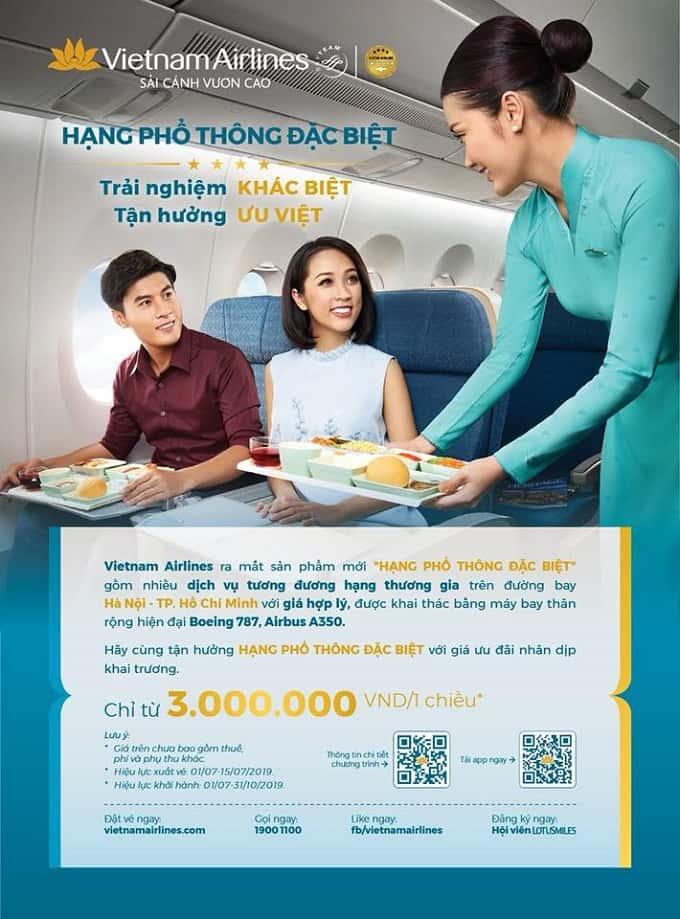 Từ 1/07/2019, Vietnam Airlines triển khai dịch vụ hạng Phổ thông đặc biệt trên đường bay Hà Nội – Tp Hồ Chí Minh