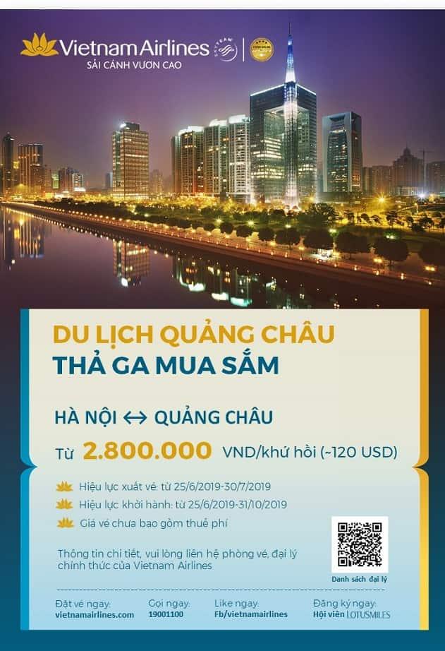 Vietnam Airlines khuyến mại vé bay Hà Nội – Quảng Châu