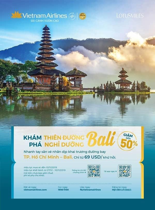 Vietnam Airlines tung ƯU ĐÃI ĐẶC BIỆT trên hành trình Tp Hồ Chí Minh - Bali/Phuket